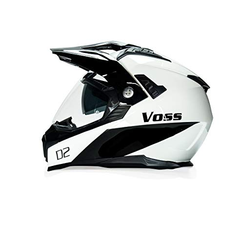 - Voss 601 D2 Dual Sport Helmet with Integrated Sun Lens and Ratchet Quick Release System - Medium - Gloss White Diamond + Chrome Shield