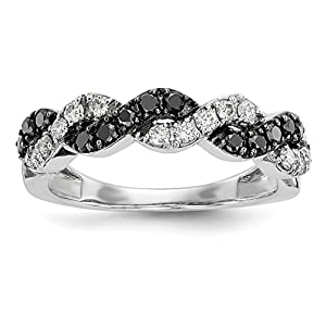 ICE CARATS 14k White Gold Black/white Diamond Band Ring Size 6.75 Fine Jewelry Gift Set For Women Heart