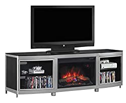 """ClassicFlame 26MM9313-D974 Gotham TV Stand for TVs up to 80"""", Silver/Black (Electric Fireplace Insert sold separately) by ClassicFlame"""