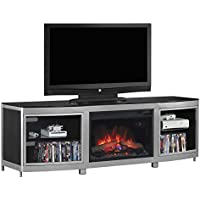 ClassicFlame 26MM9313-D974 Gotham TV Stand for TVs up to 80', Silver/Black (Electric Fireplace Insert sold separately)