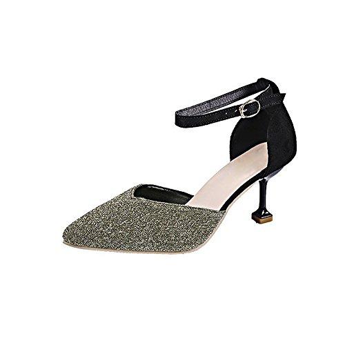 De Baja Honor 5 Oro Calzado Alto 7 Puntiaguda Sandalias La Boca Tacón Tela l Boda Aguja Wanson Altos Tacones Zapatos Mujer Cm Cristal Sexy Dama Un6qx7BE8w