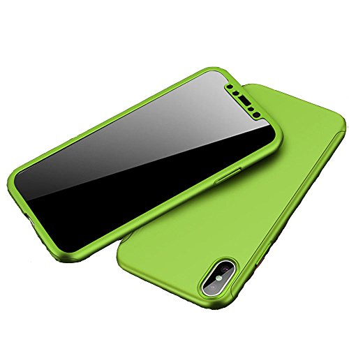 iPhone X Case, Nevoc [Perfect Fit] 360 Degree All-around Ultra Thin Full Body Coverage Protection Dual Layer Hard Slim Case + Tempered Glass Screen Protector For Apple iPhone X - Thin Green