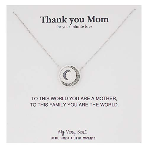My Very Best Sparkling Mom and Child Double Moon Necklace (Silver Plated Brass) ()