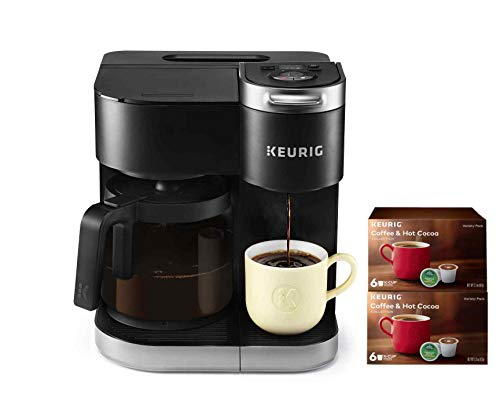 Keurig K-Duo Coffee Maker, Single Serve and 12-Cup Carafe Drip Coffee Brewer, Compatible with K-Cup Pods and Ground Coffee, Black, with 12 K-Cups