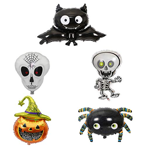 - 5 Pack Happy Halloween Balloons Bat Pumpkin Ghost Skull Aluminum Foil Balloons with a Air Pump for Halloween Decoration Halloween Party Supplies