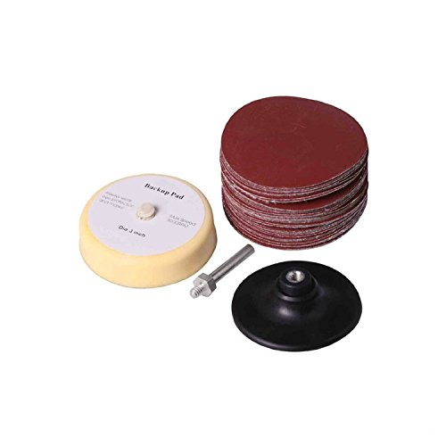 SPTA 3inch(75mm) Sander Disc Anding Sanding Pad Sanding Disc & Polishing Pad +Roloc Backing Pad Pack of 50Pcs