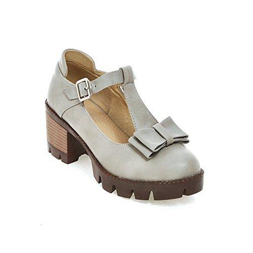 BalaMasa Womens Chunky Heels Bows Chunky Heels Urethane Pumps Shoes Gray kCkqxjE
