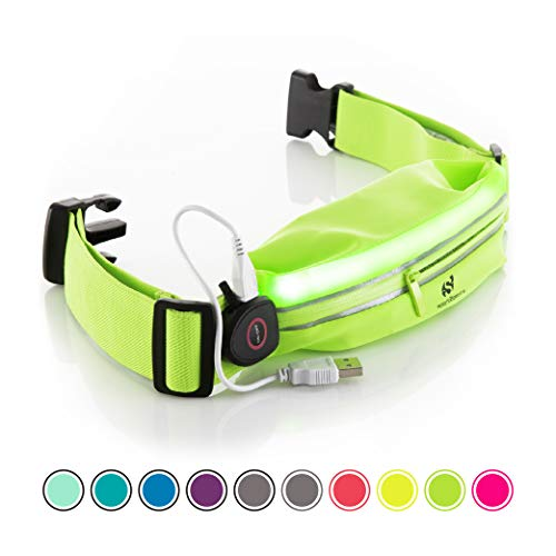 lective Running Belt Pouch with USB Rechargeable Light - Key, iPhone X 6 7 8 Plus Cell Phone Holder for Runners - Waist Fanny Pack for Best Visibility During Walking and Cycling ()