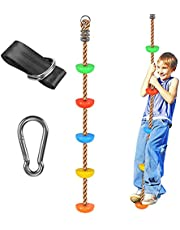 WAREMAID 6.6 ft Climbing Rope with Platforms, Swing Set Accessories with Snap Hook and Tree Straps, Additions & Replacements for Active Outdoor Play Equipment, Kids Birthday Gift Garden Set