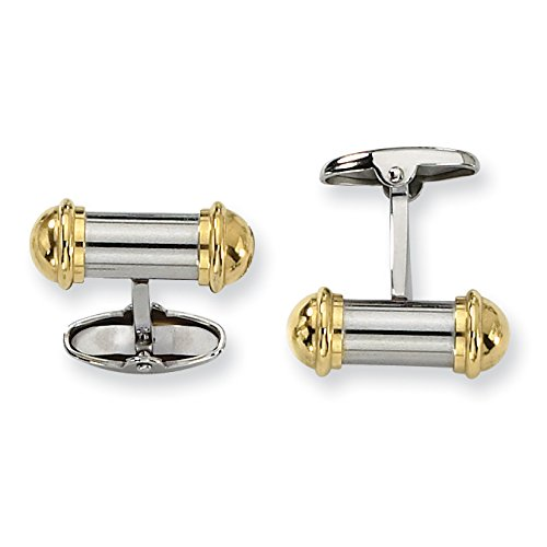 Chisel Stainless Steel Yellow IP-Plating Cuff Links - Plating Cufflinks Ip