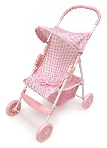 Badger Basket Folding Doll Umbrella Stroller (fits American Girl Dolls) - Pink Gingham (Badger Basket Three Wheel Doll Jogging Stroller)
