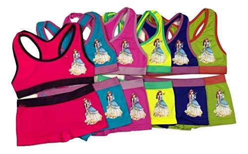 (I&S Girl's Pack of 6 Sets of Matching Razorback Sport Bras & Seamless Bikinis or Boyshorts (Medium, Royal Love Girl))