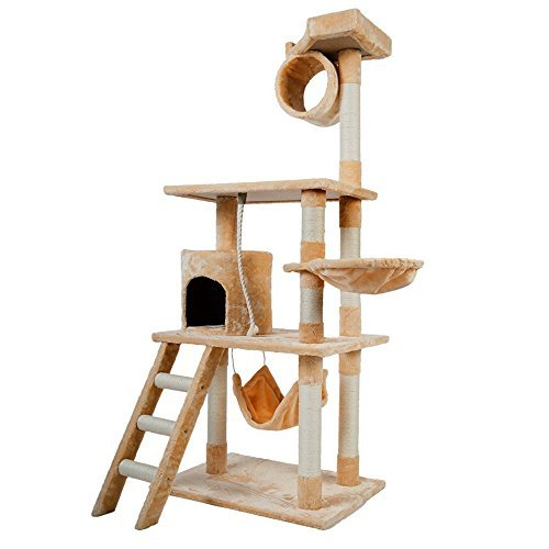 """Merax Carb-Certified 61"""" Cat Tree Cat House Cat Tower with Sisal Rope (Beige)"""