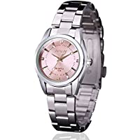 Women Lady Dress Analog Quartz Watch with Stainless Steel Band, Casual Fashion Waterproof Watches Roman Numeral Diamond Rhinestone Luminous Wristwatch - Pink