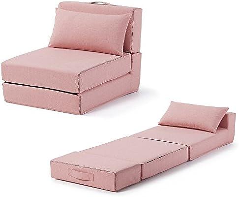 ACOMODAT Puf Cama Antimanchas desenfundable con colchón Plegable de Espuma 70x185 cm – Puff Pouf Rosa