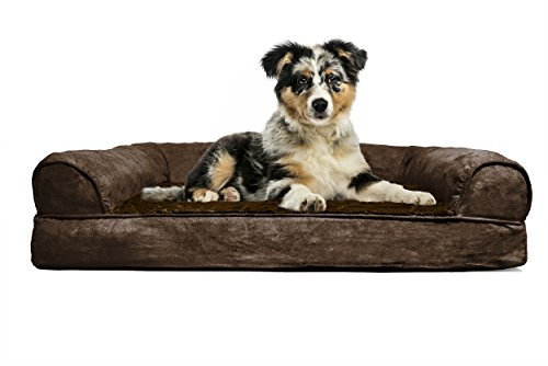 FurHaven Pet Bed Quilted Orthopedic Sofa Dog Bed Soft Faux F