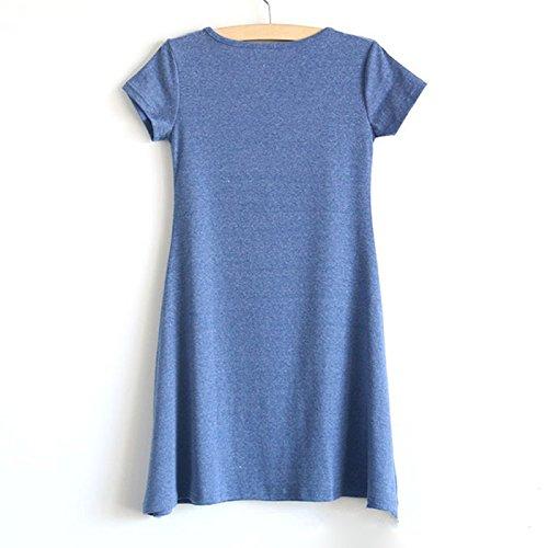 TOOGOO(R) Mini robe a manches courtes Short Slim robe Bleu