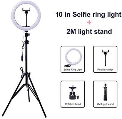 リングビデオライト調光可能LEDセルフィーリングライトUSBリングランプ写真ライトフォーンホルダー付き2M三脚スタンドメイク用Youtube(カラー:2Mブラック)