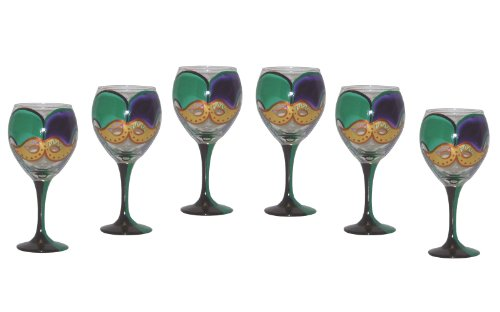 ArtisanStreet's Set of 6 Mardi Gras Hand Painted Wine Glasses. Made to Order Review