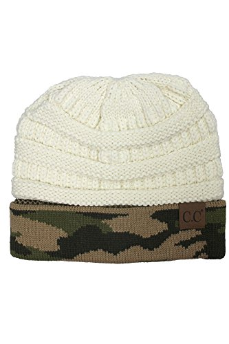 - ScarvesMe CC Hot and New Camouflage Camo Print Knit Cuff Beanie Warm Winter Hat Skully Cap (Ivory)