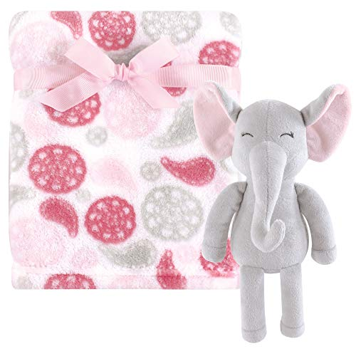 Hudson Baby Unisex Baby Plush Blanket with Toy, Paisley Elephant 2 Piece, One Size