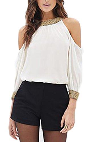 Teamyy Camiseta de Gasa Blusa Casual Moda para Mujer Sin Tirantes Manga Larga Lentejuelas T shirt Top blanco