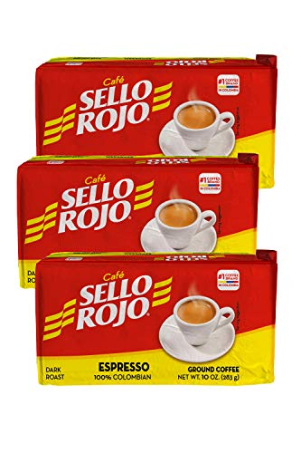 Cafe Sello Rojo Espresso | Best selling coffee brand in Colombia | 100% Colombian dark roast ground arabica coffee | Premium Cuban Expresso Coffee type | Freshly vacuum packed in bricks (Pack of 3)