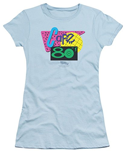 Back To The Future II Cafe 80s Ladies Junior Fit T-Shirt Medium Light Blue