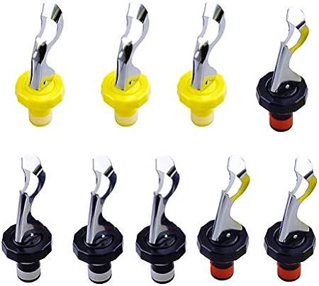 9 tapones de silicona expansibles para botella de vino a prueba de fugas, tapón reutilizable para bebidas (amarillo y blanco, negro y blanco, rojo y negro, 3 para cada uno)