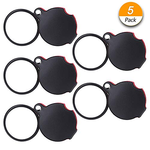 (Dreamtop 5 Pack 10X Mini Magnifying Glass 50mm Folding Pocket Magnifier Loupe with Rotating Protective Holster for Reading Maps, Lables, Crafts)
