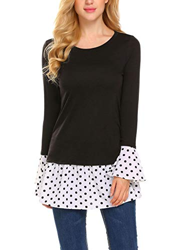 - Zeagoo Polka Dot Blouse with Ruffles Tunic Tops Flounce Shirts for Women Black L