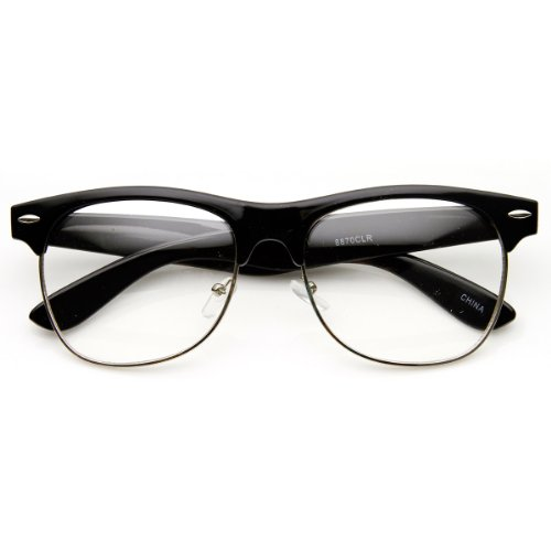 zeroUV - Classic Half Frame Semi-Rimless Clear Lens Horn Rimmed Glasses (Black-Silver)