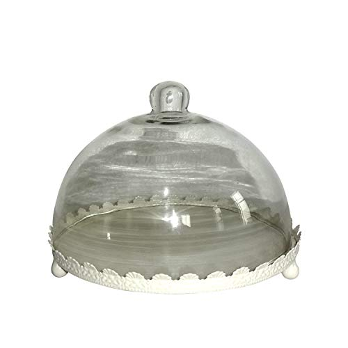 Buy jeco white metal tray with glass dome