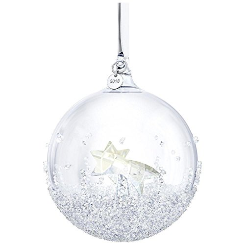Crystal Holiday Ornament - Swarovski Christmas Ball Ornament, A. E. 2018, Frosted Crystal