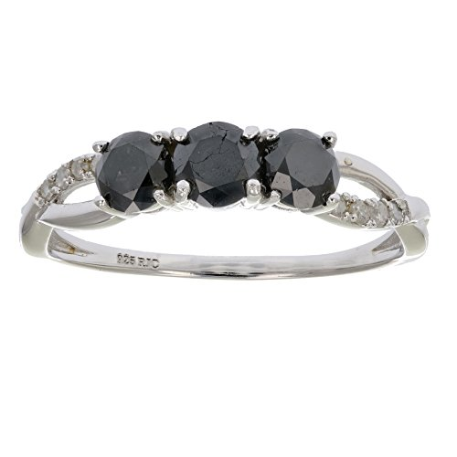 1 CT 3 Stone Black Diamond Ring Criss Cross Design Sterling Silver In Size 5