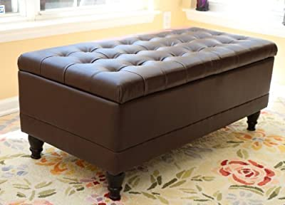 Home Life Storage Coffee Ottoman Dark Brown Espresso & Black - Lift Top Bench