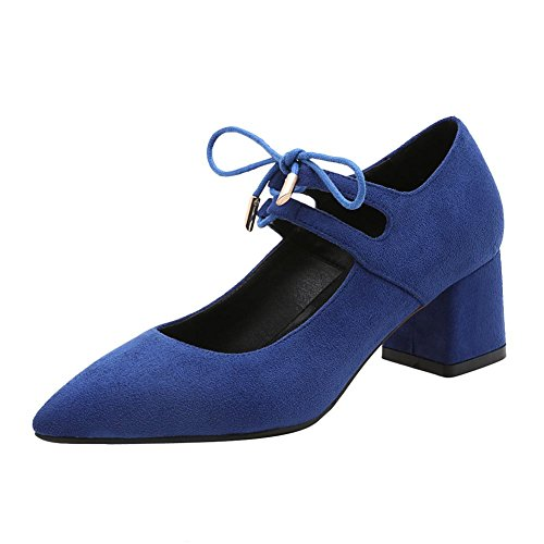 MissSaSa Damen elegant Chunky heel Knöchelriemchen Pointed Toe Pumps mit Schnürsenkel Blau