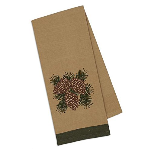 Design Imports Mountain Pine Cotton Table Linens, Dishtowel 18-Inch by 28-Inch, Pinecones Embellished