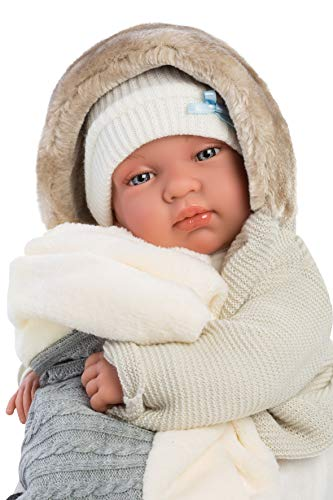 """Llorens 17.3"""" Crying Soft Body Baby Doll Robert with Baby Blanket, Blue"""