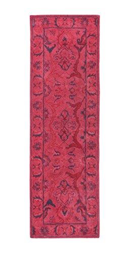 (Rivet Pink Global Floral Wool Rug, 2'8'' x 8', Pink)