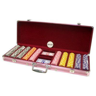 300 Piece Dice Design Poker Chips in Aluminum Case, Pink Color by CHH