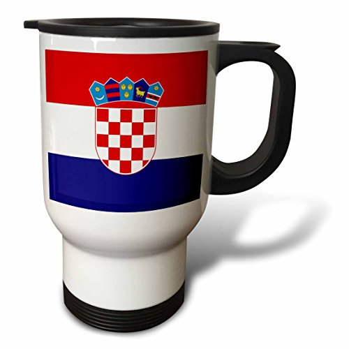 (3dRose Flag of Croatia -Croatian Coat of Arms Shield, Stainless Steel Travel Mug, 14-Oz )