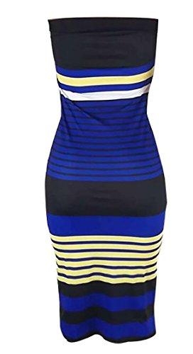 Strapless Slim Fit Womens Blue Midi Dress Bodycon Jaycargogo Stripe Tube Top EqHxgx