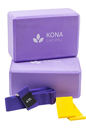 Premium KONA Yoga Set (4PC) - 2 High Density EVA Foam Blocks large 4''x 6''x 9'', 1 Cotton Yoga Strap with D-ring standard 6'' length, and 1 Resistance Band Loop - Lightweight, Odor & Moisture Resistant by KONA Live Well