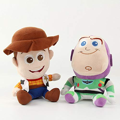 PAPWELL Buzz Lightyear Toy 7 inch Woody Toy Story Disney Pixar Big Plush Toys Large Stuffed Gift Collectable Christmas Halloween Birthday Gifts Cute Doll Collectibles New Collectible for Kids (Set 2)