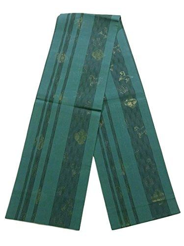 起きろ星記念品リサイクル 全通 袋帯 夏物 馬 正絹