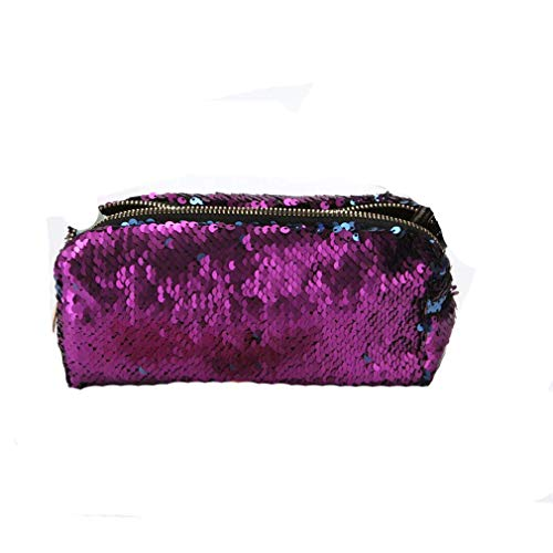 HENGSONG Women Girls Mermaid Sequin Makeup Pouch Cosmetics Bag Key Bag Coin Purse Stationery Case Pencil Case with Zipper Gifts (Purple Blue)