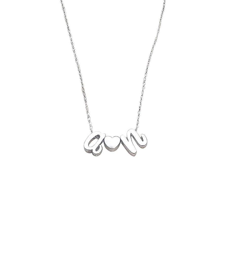 131f9eb17a313 Amazon.com: Cursive letter necklace . Personalized Heart Necklace ...