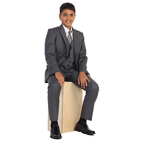 Big Boys Med Gray Vest Pants Jacket Necktie White Shirt 5 Pcs Suit Set 12 by Bone (Image #1)