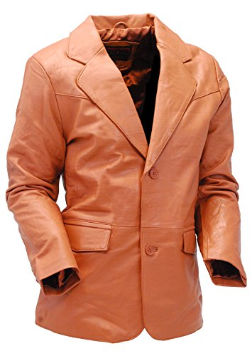 Jamin' Leather Light Brown Two Button Lambskin Leather Blazer (S) - Leather Blazer Button Lambskin